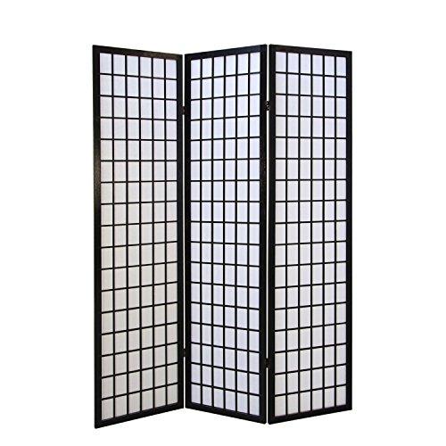Homestyle4u 162, Paravent Raumteiler 3 teilig, Holz Schwarz, Reispapier Weiß, Höhe 175 cm