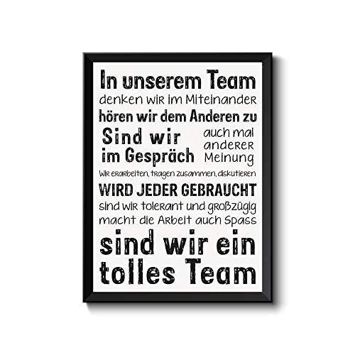 wohnstil Poster DIN A4, In unserem Team.Werden Sie gebraucht.tolles Team, Kollege Kunstdruck Bild für Büro Werkstatt Arbeitsklima