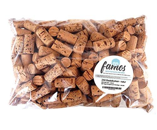 famos 250 Korken/Weinkorken/Flaschenkorken zum Basteln - Natur - neu - 24mm x 45mm