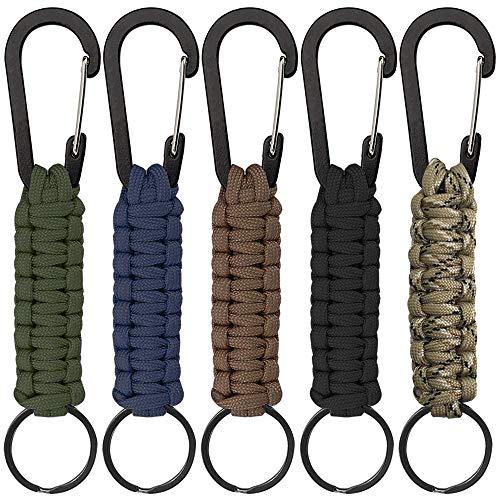 Senhai 5 Stück Paracord Schlüsselanhänger mit Karabiner, Geflochtene Lanyard Ring-Haken-Clip für Schlüssel Messer Taschenlampe Draussen Camping Wandern Rucksack Passen Männer Frau - 5 Farben