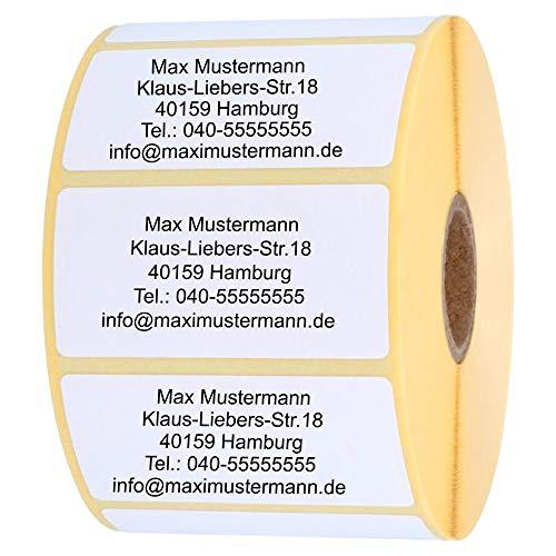 INDIGOS UG Adressetiketten - Namensaufkleber - weiß - 100 Stück personalisierbar - selbstklebend - 40 x 22 mm - verschiedene Varianten
