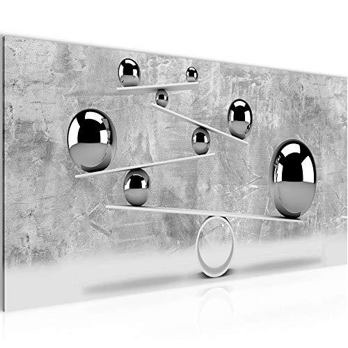 Wandbilder 3D Kugeln Modern Vlies Leinwand Wohnzimmer Flur Abstrakt Illusion Grau 504312b