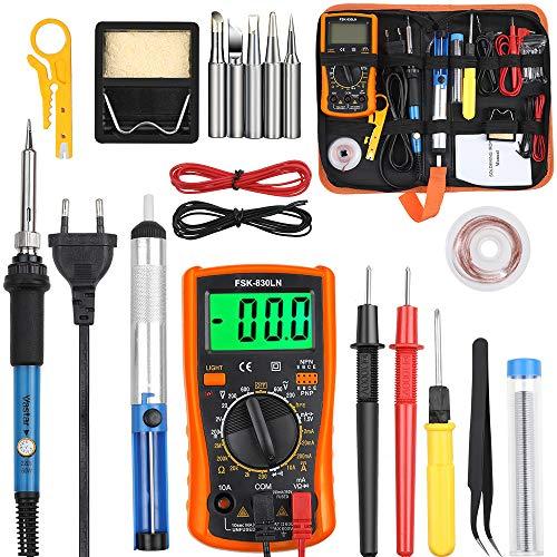 Vastar Lötkolben Set Eletronische Lötkolben Kit 60 W, einstellbare Temperatur mit Digitalmultimeter, Entlötpumpe, Lötstation, Pinzette, Abisolierzange Lötstation