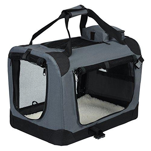 EUGAD 0106HT Hundebox faltbar Hundetransportbox Auto Transportbox Reisebox Katzenbox Grau 49,5 x 34,5 x 35 cm