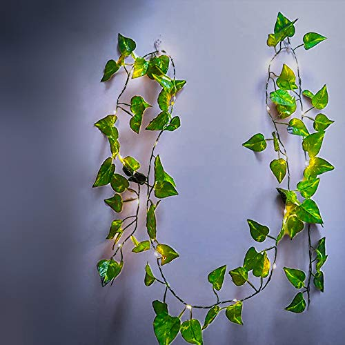 DYBOHF Efeu Girlande, Lichterkette mit Blättern 2M 20 LED, Frühling Pflanzen künstliche Gefälschte Efeublätter Geschenke für Büro, Küche, Garten, Party Wanddekoration (1 Stück)
