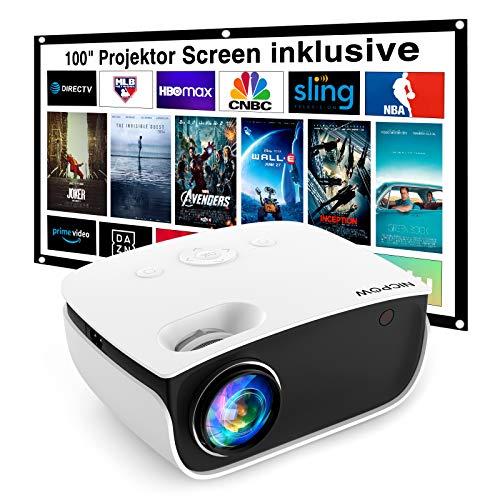 Mini Beamer 5500 L, NICPOW Heimkino Beamer mit Screen, Support 1080P Full HD mit 240' Display, 65000 Stunden LED Projektor kompatibel mit HDMI/USB/AV, iOS/Android Smartphone
