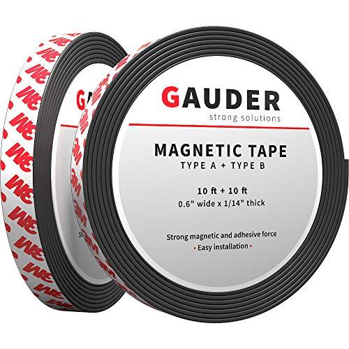 GAUDER Typ A + B Magnetband stark selbstklebend I Für Fliegengitter und Vorhänge I Magnetstreifen (3m + 3m)