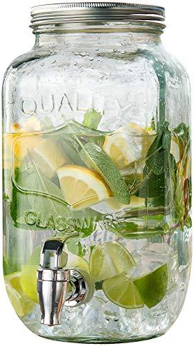 PEARL Wasserspender Glas: Retro-Getränkespender aus Glas, Einmachglas-Look, Zapfhahn, 3,5 Liter (Wasserspender mit Hahn)