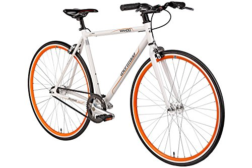 "Bermuda Fixie 28 Zoll Singlespeed Retro Fahrrad in weiß/orange 28"" Fitnessbike Fixed Gear Rennrad Bike Flip Flop Nabe 52 cm Rahmenhöhe Damen Herren (weiß/orange, 52)"