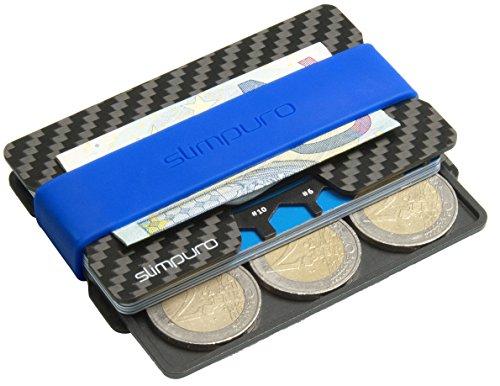 SLIMPURO® Kreditkartenetui Herren mit Münzfach PICO - TÜV RFID Schutz - Carbon Slim Wallet mit CoinCard - Minimalisten Geldbeutel Geldbörse (Aluminum Münzfach 6-9 Münzen)