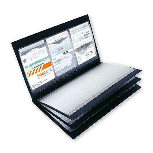 Sigel Visitenkarten-Mappe für Visitenkarten-Sammler für bis zu 288 Kärtchen in schwarz aus Kunststoff