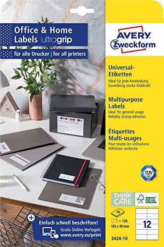 AVERY Zweckform 3424-10 Adressaufkleber (120 Klebeetiketten, 105x48mm auf A4, bedruckbare Absenderetiketten, selbstklebende Adressetiketten mit ultragrip, ideal fürs HomeOffice) 10 Blatt, weiß