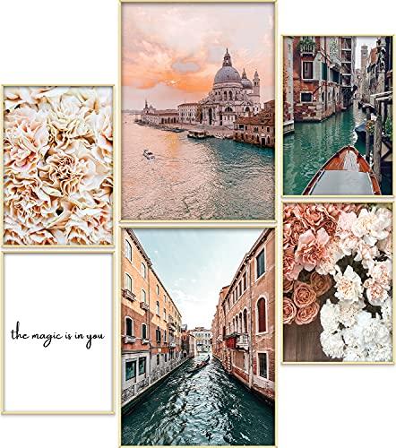 ARTORIA | Premium Poster Set - Beige Rose | Ohne Rahmen | Moderne Bilder für Wohnung 4xA4 & 2xA3: Wohnzimmer & Schlafzimmer & Büro | Home Deko für Wände | Schöne Geschenke mit elegantem Design