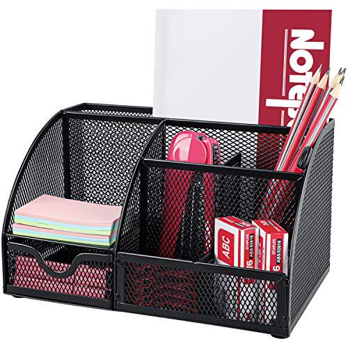 Pipishell Schreibtisch Organizer, Mesh Metall Büro-Organizer mit Schublade und...
