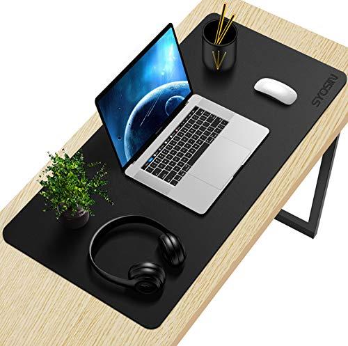 SYOSIN Schreibtischunterlage, 80 x 40 cm PU-Leder Multifunktionale Schreibtischmatte, Mauspad, rutschfest, Wasserdichter Schreibtisch-Schreibblock für Büro und Zuhause