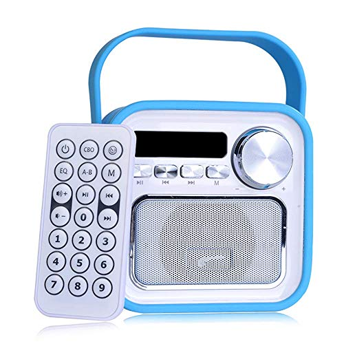 Bluetooth Lautsprecher mit Radio FM in Blau Mini Aux USB Anschluss Fernbedienung Uhrzeit Badezimmer Küchenradio Badradio Kinderradio tragbar 5W Klinke klein Retro Vintage Musikbox Werkstattradio Uhr
