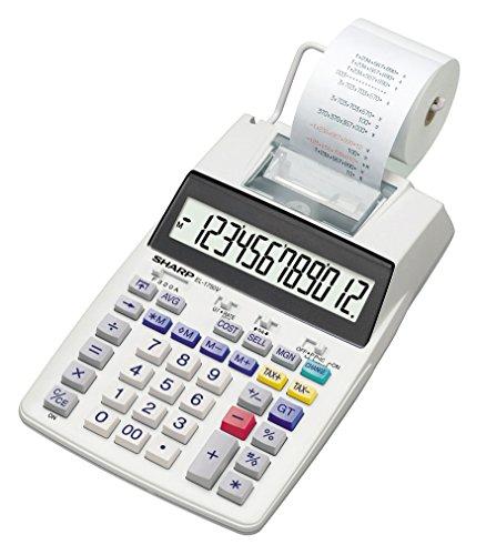 Sharp Druckender Tischrechner EL-1750V (12-stellig, schwarz rote Druckfarben) grau