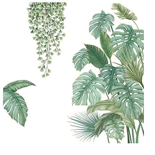4 Stück Diy Grüne Pflanze Wandaufkleber, Pflanzen Sie Tropische Blätter Wandaufkleber, Geeignet für Schlafzimmer, Wohnzimmer, Esszimmer, Tv-Hintergrundwand, Flur, Büro, Geschäft Usw