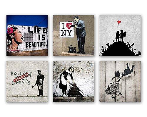 Banksy Bilder Set B, 6-teiliges Bilder-Set jedes Teil 29 x 29 cm in schwebender Optik