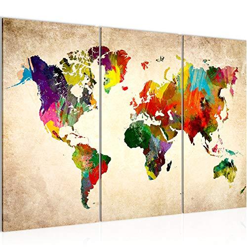 Runa Art Weltkarte Bild Wandbild Wohnzimmer XXL Bunt Kontinente Landkarte