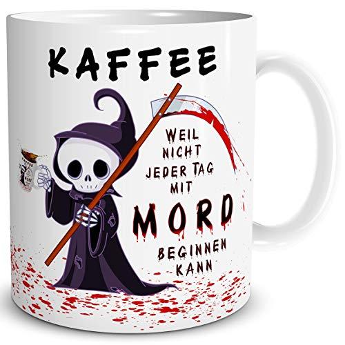 TRIOSK Tasse Kaffee Mord mit Spruch lustig Kaffeeliebe Fun Horror Geschenk für Arbeit Büro Kaffeeliebhaber Kollegen Männer Frauen Freundin Weiß
