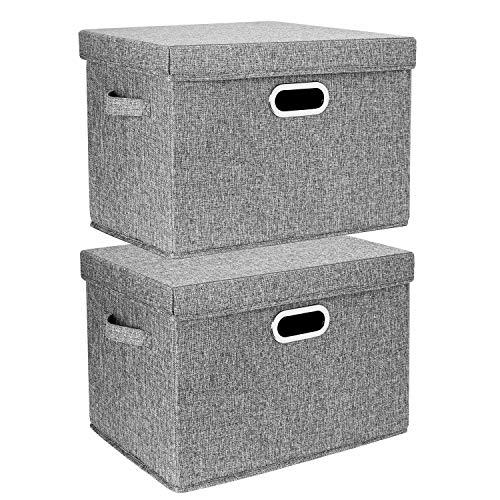 TYEERS 2er Pack Große Aufbewahrungsbox mit Deckel und Griff, Faltbarer Aufbewahrungsboxen in Würfelform Waschbar - Grau