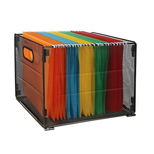 Samstar Hängeregister Ablagebox Hängemappenbox aus Metall, für Hängemappen A4, Schwarz