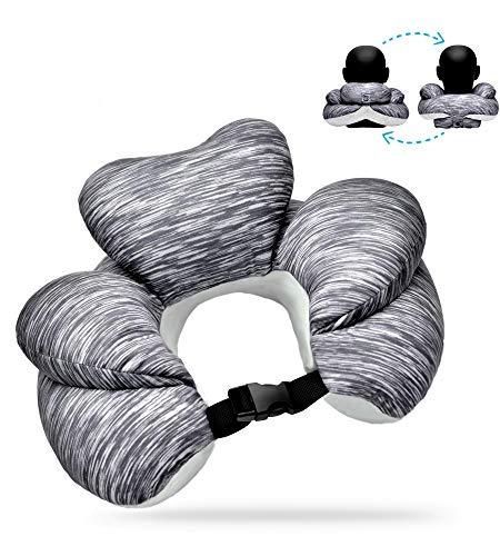 Luamex Neuheit - Nackenkissen – Nackenhörnchen - mit Mikroperlen und 2 Funktionen - Reisekissen – Nackenstütze – (Oeko-Tex Standard 100)