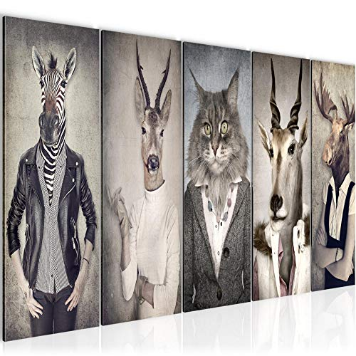 Runa Art Wandbild XXL Tiere Abstrakt 200 x 80 cm Grau 5 Teilig - Made in Germany - 018355a FBA