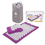 BODHI Vital Akupressur-Set 74 x 44cm Akupressur-Matte & -kissen, aubergine, inkl. Tasche, zur Selbstmassage, Entspannung, Förderung der Durchblutung