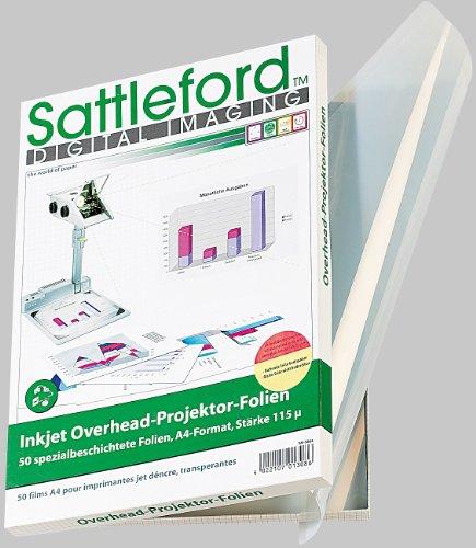 Sattleford Overheadfolie: 50 Inkjet-Overhead-Folien, DIN A4, transparent, 115 µm (Transparentpapier)