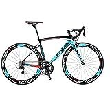 SAVADECK Warwind3.0 Rennrad 700C Carbon Rahmen Fahrrad mit Shimano SORA 18-Fach Kettenschaltung Continental Ultra Sport II 25C Reifen und Doppel-V-Bremse (Blau, 54cm)