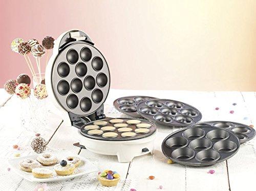 Rosenstein & Söhne Donat Maker: 3in1-Donut-, Cupcake- und Cakepop-Maker mit Antihaftbeschichtung (Donut Muffin & Cake Pop Maker)