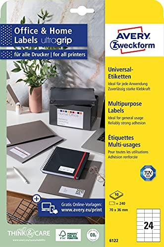 AVERY Zweckform 6122 Adressaufkleber (240 Klebeetiketten, 70x36 mm auf A4, bedruckbare Absenderetiketten, selbstklebende Adressetiketten mit ultragrip, ideal fürs HomeOffice) 10 Blatt, weiß