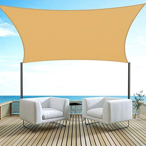 Velway Sonnensegel Sonnenschutz UV-Schutz Wasserabweisend Wetterbeständig Outdoor Garten Quadrat 3mx3m Sand Beige