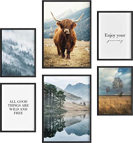 Mia Félice Deko Bilder für das Wohnzimmer modern und angesagt, Premium Poster Set » The Highlands « Tumblr Deko Wand Bild, Dekoration Wohnung modern, Deko Schlafzimmer, Zimmer Deko OHNE BILDERRAHMEN