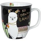 Happy Life 45544 Kaffee-Tasse mit Lama Tier-Motiv, mit Spruch No Drama Lama, Porzellan, 40 cl, Geschenk-Tasse