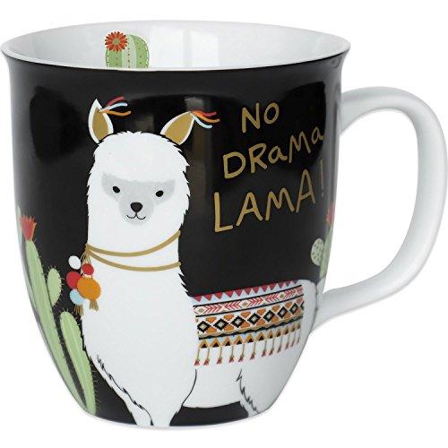 H:)PPY life 45544 Kaffee-Tasse mit Motiv Lama, Geschenk, Porzellan, 40 cl