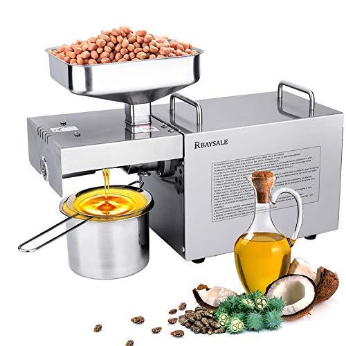 RBAYSALE Ölpresse Maschine Handels/Haushalts Ölpresse Expeller Maschine Elektrisch 304 Edelstahl Öl Extraktor Maschine Ausrüstung für Erdnuss Nuts Samen