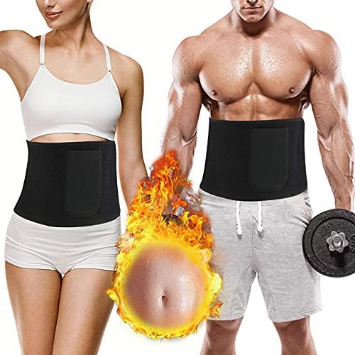 rizon Bauchweggürtel Abnehmen Gürtel, Sauna Fitness Shapio Schweißgürtel Bauch Fett Weg gürtel mit Tragetasche für Damen und Herren Zum Schwitzen, Krafttraining und Zur Rückenstabilisierung
