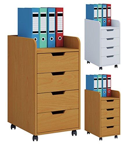 VCM Konal Rollcontainer, Holzstruktur, Buche, Einheitsgröße