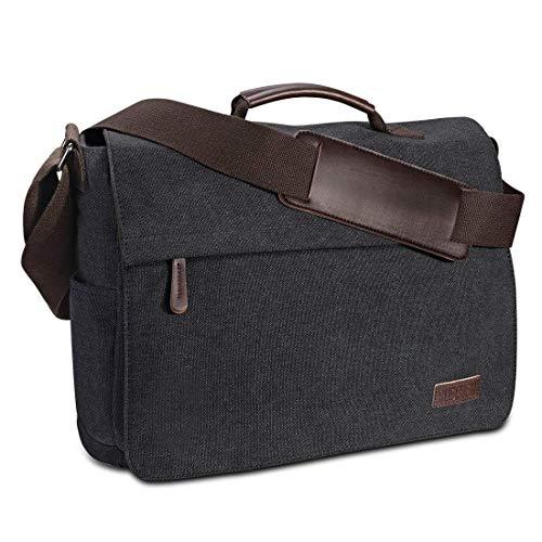 Umhängetasche Herren aus Vintagem Segeltuch, Premium Herrentasche, Laptoptasche für 15,6 Zoll Laptop, Schultertasche / Kuriertasche / Messenger Bag von Ruschen