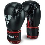 Pro4 Boxhandschuhe Fight - bestens geeignet für Boxen Kampfsport Kickboxen Fitness 8 10 12 14 16 oz unzen schwarz/rot 14oz