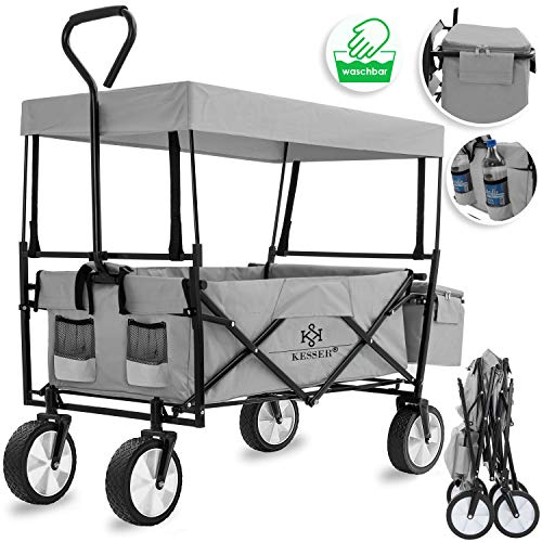 Kesser® Bollerwagen faltbar mit Dach Handwagen Transportkarre Gerätewagen | inkl. 2 Netztaschen und Einer Außentasche | klappbar | Vollgummi-Reifen | bis 100 kg Tragkraft | Grau