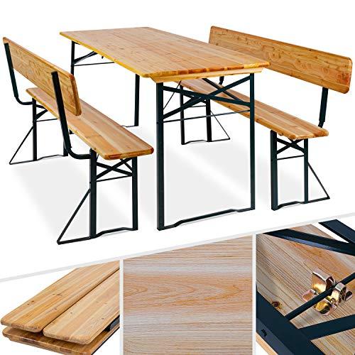 KESSER® Bierzeltgarnitur mit lehne & breiter Tisch 170x70cm | 3 teilig...