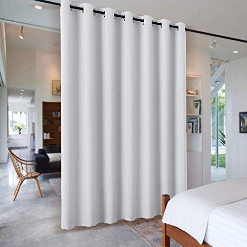 PONY DANCE Raumteiler Vorhänge Grau-weiß - 1 Stück H 210 x B 254 cm Schiebevorhänge für Wohnzimmer/Schlafzimmer/Büro Trennwand Vorhang Sichtschutz Ösenschal