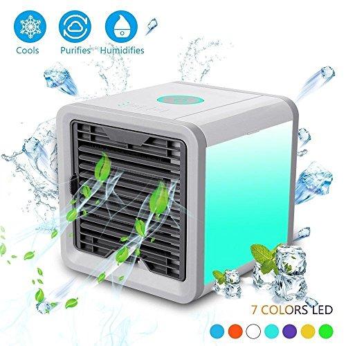 KOBWA Tragbare Klimaanlage, Mini Klimaanlage 3 in 1 USB Mini Tragbare Klimaanlage Luftbefeuchter Luftreiniger und 7 Farben Nächte für Büro,Hotel,Garage und Haus
