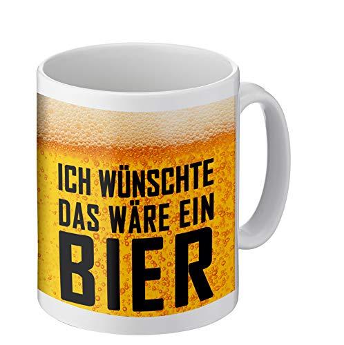 PHRASE 1 by FotoPremio Tasse mit lustigem Spruch   Ich wünschte das wäre EIN Bier   Kaffeetasse beidseitig Bedruckt   Geschenke für Männer, Freunde, Familie oder Lieblingskollegen I Geschenkideen