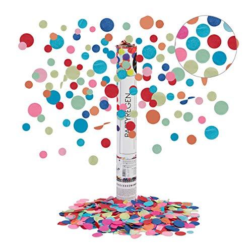 Relaxdays Party Popper, 6-8m Effekthöhe, Karneval, Geburtstag & Hochzeit, Papierkonfetti rund, Konfettikanone 40cm, bunt, mehrfarbig, 40 x 5 x 5 cm