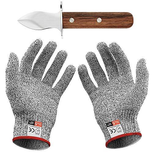 Oyster Knife Set mit Austernmesser und Schnittfeste Handschuhe Austernöffner und...